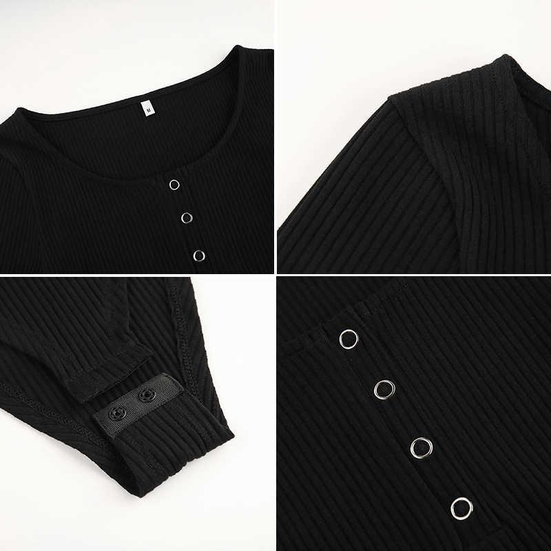 Darlingaga sonbahar kış seksi siyah bodysuits sıska düğme uzun kollu bodysuit kadın gömlek 2020 moda vücut mujer tulumlar