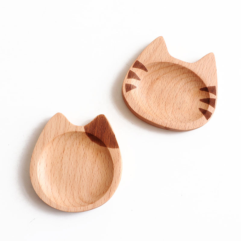 Japan Style Dipping Sauce Dishes Wood Plates Multipurpose Kawai Cat Pattern,Seasoning Dishes Soy Sauce Dipping Bowls for Party