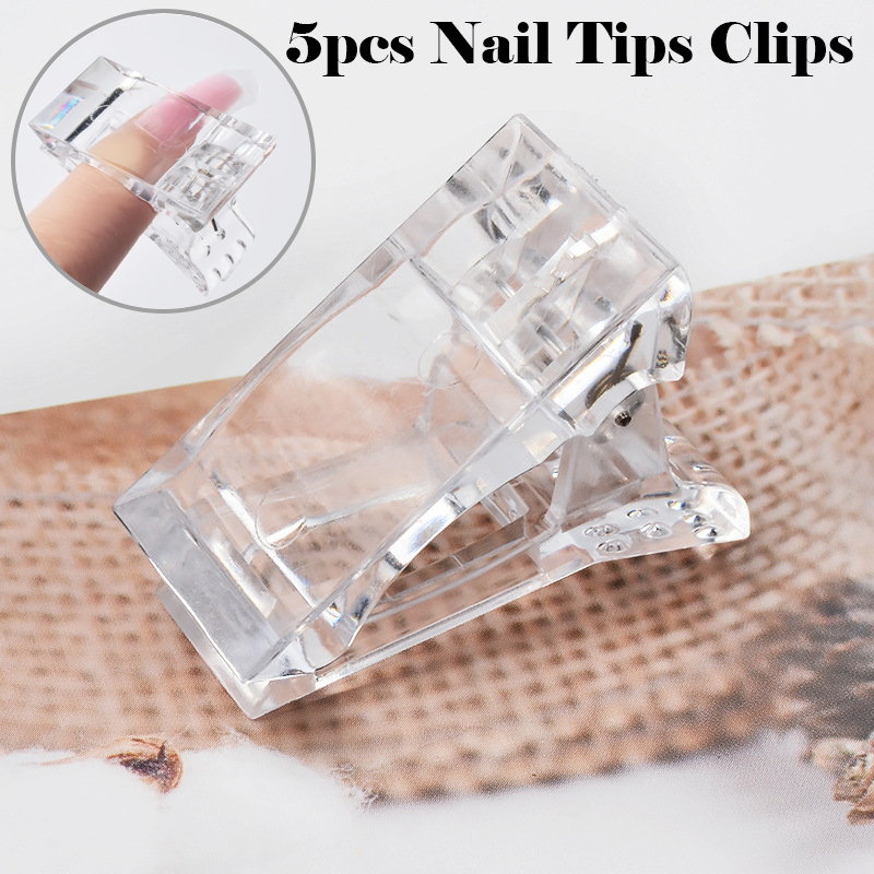 5Pcs Transparent Poly Gel Quick Building Nail Tips Clips Fingernail Extension UV LED Plastic Builder Clamps Nail Art Tool Kit 29