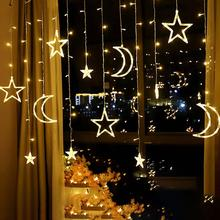 Modern Garland Moon Star Hanging Lamp LED Wedding Party Holiday String Lighting Curtain Ceiling Pendant Home Decor Night Light cheap Guillermo Through-Carved Parlor Study Master Bedroom other bedrooms Hotel Hall Hotel Room Cord Pendant Pendant Lights 2 Years