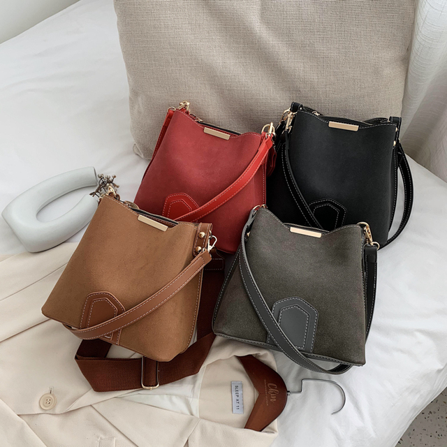 Vintage Scrub Leather Bucket Bags for Women 2021 Trending Designer Crossbody Shoulder Handbags Women's Wide Shoulder Belt Bag 6
