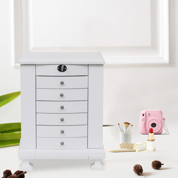 7 Drawers White Wooden Jewelry Box Organizer Wooden Jewelry Box With Double Door