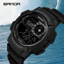 SANDA G Military Shock Men Watches Sport Watch LED Digital Waterproof Chronograph Casual Watch Male Clock relogios masculino tanie tanio Resin 23cm 5Bar Buckle ROUND 23mm 15 31mm Acrylic Stop Watch Back Light Shock Resistant LED Display Repeater luminous Auto Date