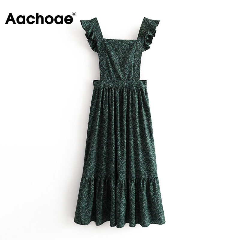 Women Vintage A Line Floral Print Dress 2020 Sleeveless Backless Fashion Casual Long Dresses Elegant Ruffle Pleated Dress