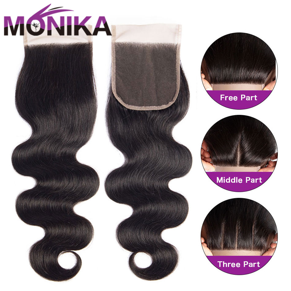 Monika Closure Peruvian Body Wave Closure 4x4 Closure Human Hair Middle/Free/3 Part Swiss Lace Closures Non-Remy Cheveux Humain