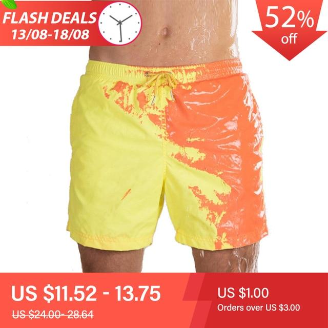 2020 חדש מדהים צבע שינוי בגד ים בגדי ים בגד ים להחליק גברים מכנסיים שחייה גברים של החוף לשחות זכר תחתונים סקסי הומו