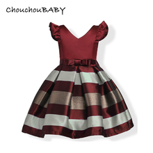 ChouchouBABY v-neck petal sleeve bow striped kids girls princess dress wedding party dress children costume 3 4 5 6 7 8 years 2019 summer girl dress kids children dress cotton striped princess dress baby girls clothes 4 5 6 7 8 9 10 years girl costume