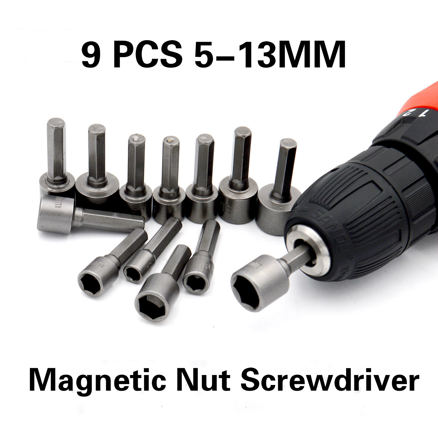 9pcs 5-13mm Hexagon Nut Driver Drill Bit Socket Screwdriver Wrench Set For Electric Screwdriver Handle Tools No Magnetic