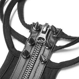 Image 4 - PUNK RAVE Neue Frauen Punk Rock Military Kurzarm T shirt Baumwolle Gestrickte Schwarz Gothic wasserdichte Zipper Knopfleiste Sexy Tops Tees