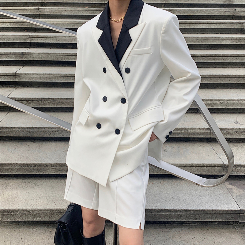 Spring Women's Suit Casual Solid Color Double-breasted Pocket Decoration Stitching Suit + Shorts Suit