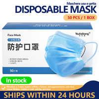 Maschera 50pcs Usa E Getta 3 Strati Antivirus Viso Maschera Anti Bocca Della Copertura Influenza Del Viso Modello di Polvere Maschere di Filtro