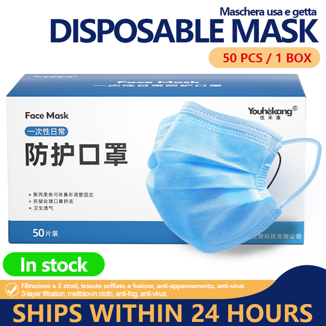 Mask 50pcs Disposable 3 Ply Antivirus Face Mask Anti Mouth Cover Flu Facial Dust Template Filter Masks