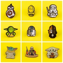 цена на Cartoon Enamel Star Wars Pins Badge On Backpack Mandalorian Master Yoda Brooch Pins For Clothes Broche For Clothes Decor DIY