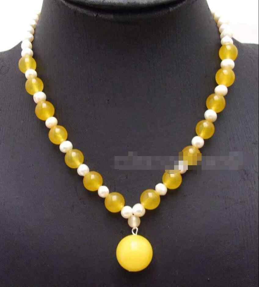 Freies>> VERKAUF Big 18mm gelb Runde stein Anhänger 6-7mm Natürliche Weiße Perle halskette