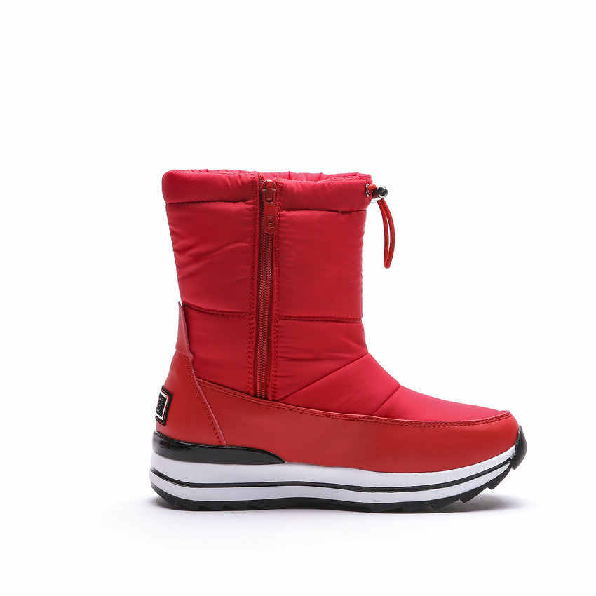 QUTAA 2020 Runde Kappe Plattform Schnee Stiefel Winter Warme Pelz Casual Frauen Schuhe Unten Keil Ferse Zipper Mittlere Waden Stiefel große Größe 34-43