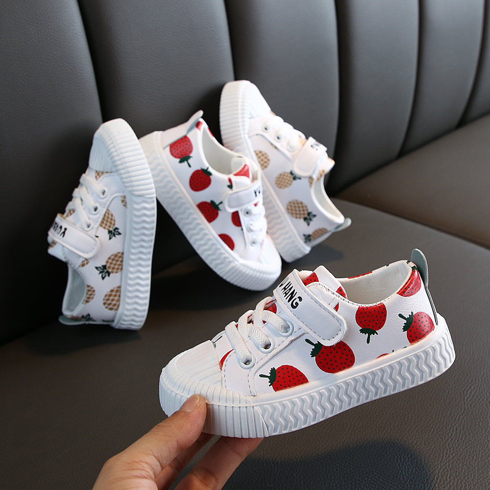 Hot Sale Pineapple Strawberry Spring And Autumn New Soft Bottom Girls Children Students Casual Non-slip PU Leather Sports Shoes