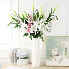 Artificial silk flowers fake lily branch 78cm long DIY creative bouquet as gift for friends teach & fresh living room decor