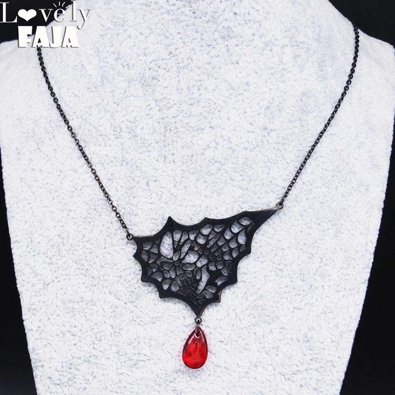 2020 gotik örümcek ağı paslanmaz çelik kafatası kolye kadın kan damlası siyah renk zincir kolye takı yaka mujer N20133
