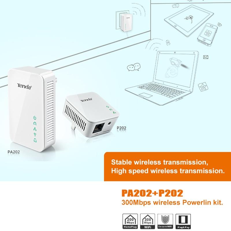 Tenda PA202 300 Мбит/с Беспроводной Мощность линии сетевой адаптер Ethernet PLC Адаптер Комплект Мощность сетевой адаптер IPTV homeplug AV Plug & play