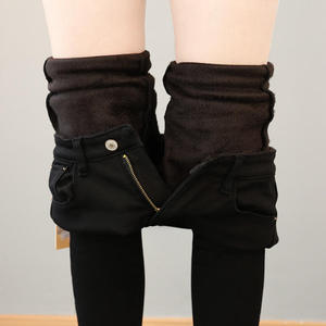 Image 2 - Autumn Winter Plus Velvet Thick Women Leggings Long Trousers Pencil Pants White Black Stretch Skinny High Waist Leggings C5782