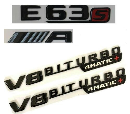 2x for Mercedes-Benz AMG W205 BITURBO 4 MATIC Chrome Side Decal Badge Sticker