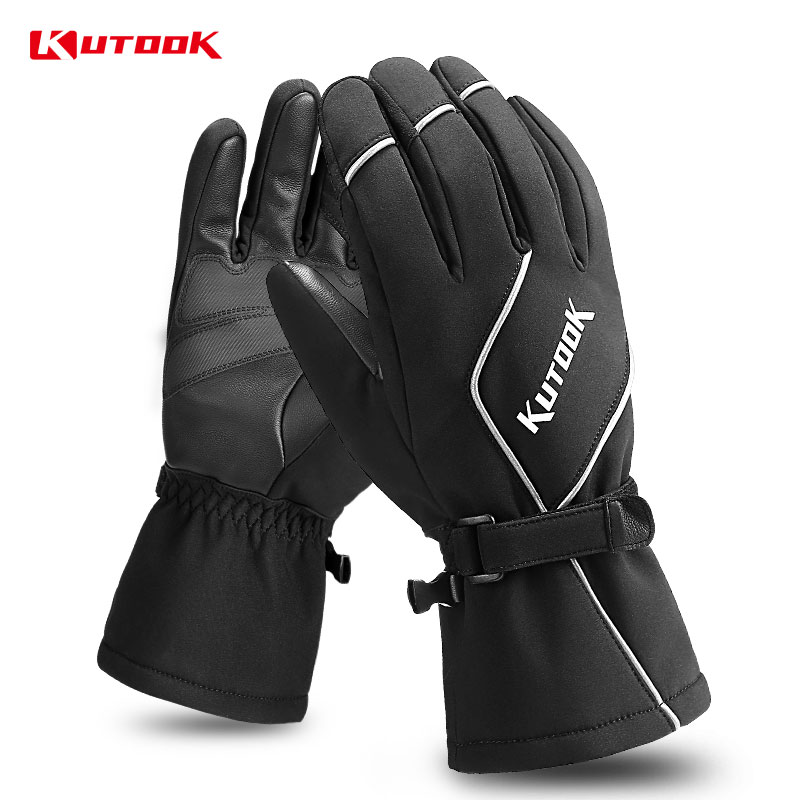 KUTOOK Winter Ski Gloves Protective PU Leather For Men Women Thermal Waterproof Snowboard Screen Touch Winter Skiing Snow Gloves