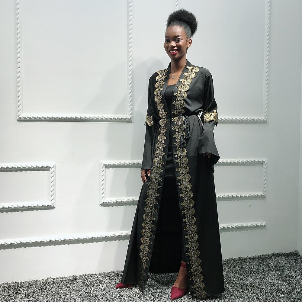 Black Abaya Kimono Cardigan Turkish Hijab Muslim Dress Women African Saudi Kaftan Dubai Caftan Qatar Omani Islamic Clothing