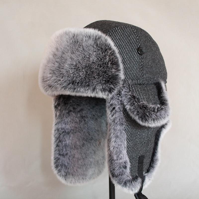 Men Women Russian Winter Bomber Hat Ushanka With Ear Flaps Faux Fur Trapper Hat Earflaps Warm Cap For Snow