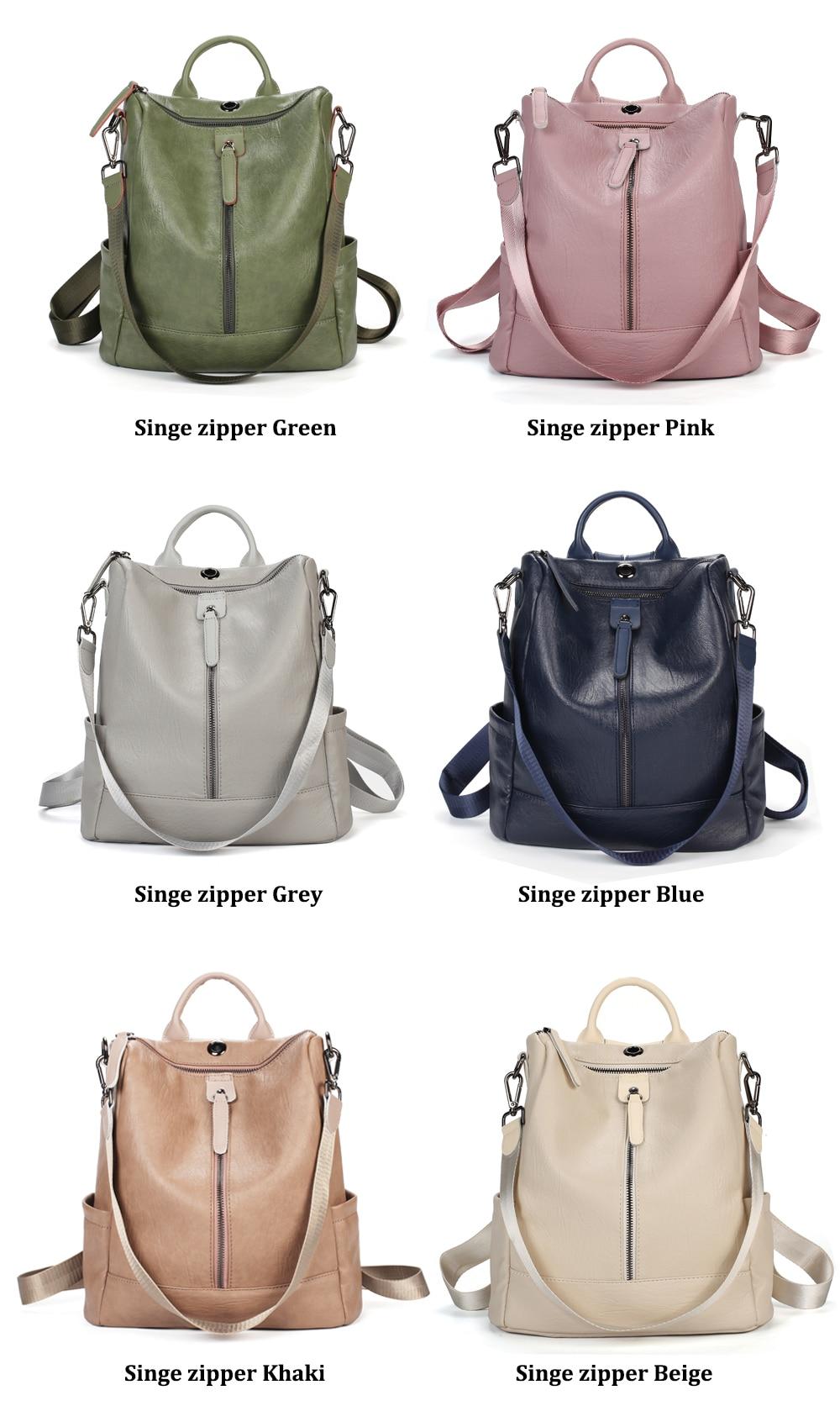 H5b805195a64744868f52d7367b7ddaddQ Female backpack mochila feminina casual Multifunction Women Leather Backpack Female Shoulder Bag Sac A Dos Travel Back Pack