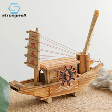 Strongwell Chinese Antique Wood Sailboat Music Box Ornaments Pen Holder Wooden Children Birthday Gift