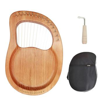Lyre Harp 16 Strings Mahogany Wood Lye Harp with Pick up Tuning Hammer Carry Bag Instrument for Beginner