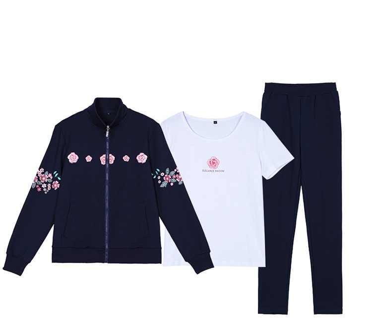 Спортивный костюм для отдыха, популярный женский костюм, Новый Модный комплект из 3 предметов, осенние спортивные костюмы, Женская куртка с принтом большого размера, топ и штаны