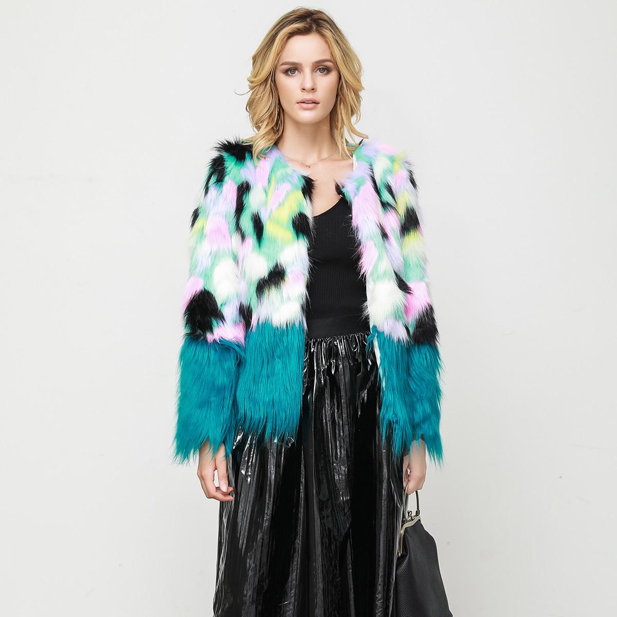 Automne hiver fausse fourrure femmes manteau O cou en peluche à manches longues vêtements d'extérieur décontracté lâche pardessus 2019 grande taille poilu pardessus fête