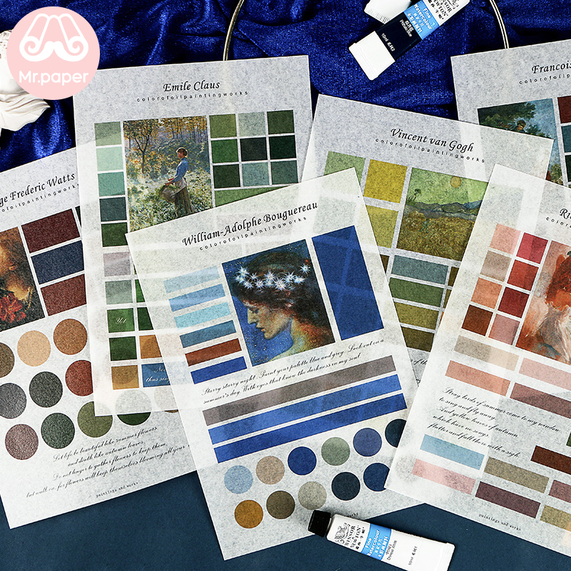 Mr.paper 6 Designs 1pc/pack Color Of Oil Painting  Works Deco Stickers Scrapbooking Bullet Journal Artist Stationery Stickers