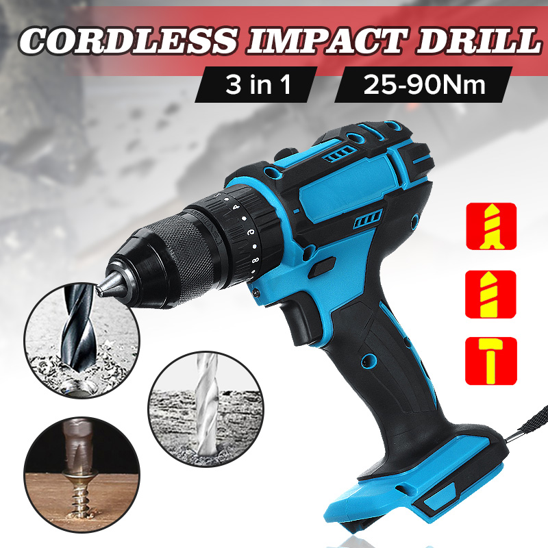 3 In 1 18V Electric Cordless Impact Drill 13mm Rechargable Electric Screwdriver Drill For Makita Battery Power Tool
