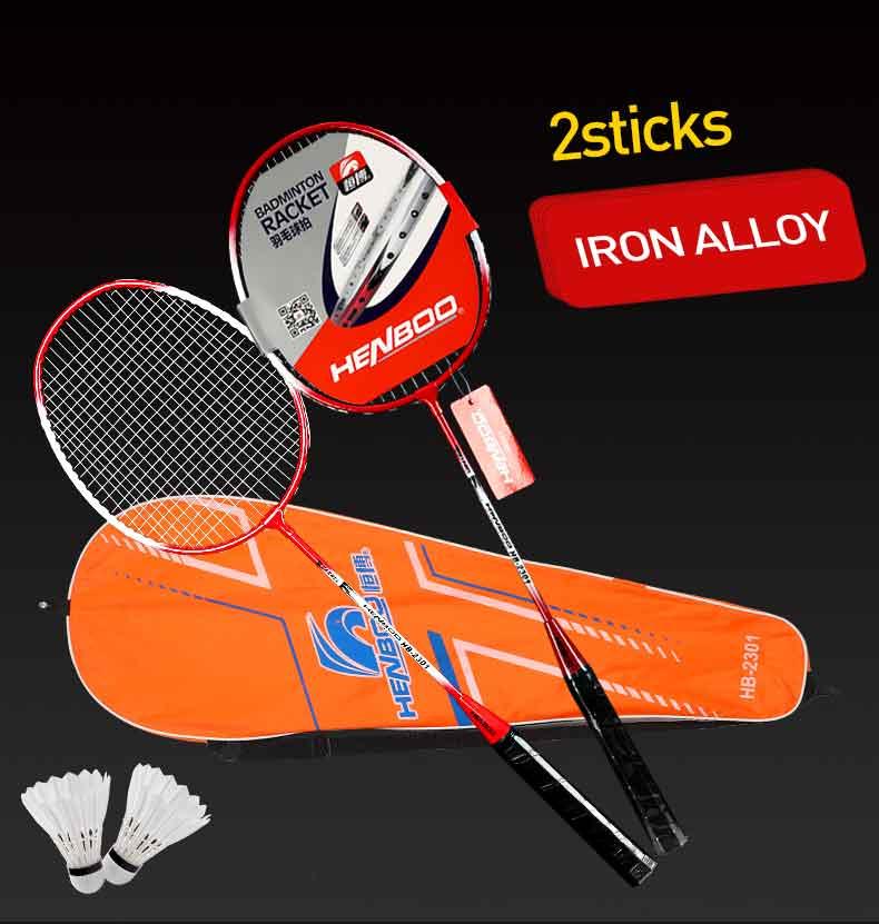 HENBOO Professional Badminton Racket Set Family Double Badminton Racket Titanium Alloy Lightest Durable Standard Badminton 2304