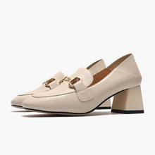 Women's casual shoes new fashion PU metal buckle high-heeled loafers thick heel popular spring and autumn square toe shoes women new europe popular street beat rivet shoes high heeled catwalk sexy rome ankle buckle strap pu heel 12cm woman pumps 6368w