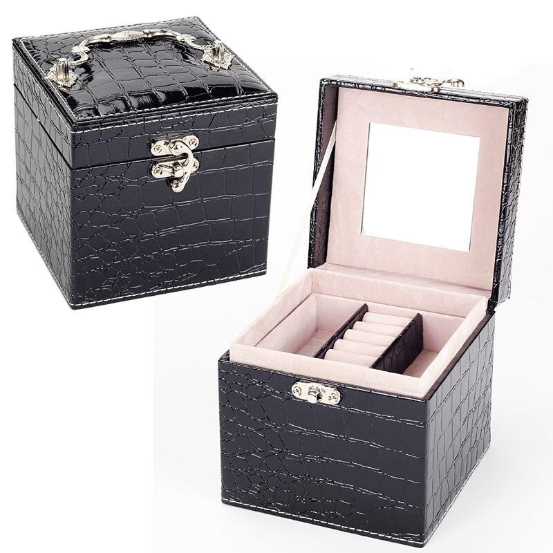 B Vintage Style Crocodile pattern leather Three-tier Jewelry Box Multideck Storage Cases High Quality wedding birthday gift