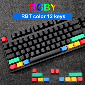 12Pcs/Set Key Caps PBT Light-proof Color Matching Mechanical Keyboard Keycaps Replacement Keycaps Kit RBT color Keycaps image