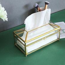 Европейский Креативный стеклоткань коробка простая гостиная коробка для салфеток высокое стекло+ Золотая отделка свет роскошный лоток для салфеток стекло