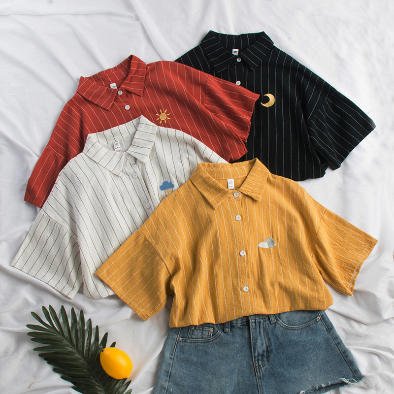 New Cotton Linen Summer Autumn Blouse Women Kawaii Weather Embroidery Ladies Sweet Striped Tops Shirt Korean Loose Blusas Mujer(China)