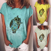 Women Tshirt Cartoon Owl Printed T-shirt Short Sleeve Animal Print O-neck Casual