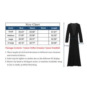 Image 5 - Femmes col en v en mousseline de soie robe à manches longues longueur de plancher Kimono Cardigan plage couvrir avec ceinture ouverte avant même robe dété solide