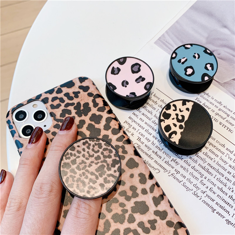 Luxury Leopard Folding Stand Holder For Mobile Phone For Iphone 11 Pro XS Max Pad For Huawei For Samsung Grip Contraction Capa