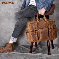 PNDME crazy horse cowhide men's large capacity luggage bag vintage genuine leather multi pocket handbag business travel bag