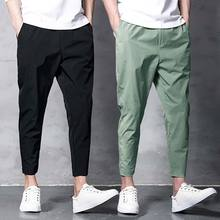 Men's Harem Pants Ankle Length 2020 Spring and Summer Stretch Pants Men Capri-Pants Korean Baggy Male Joggers Sweat Pants(China)