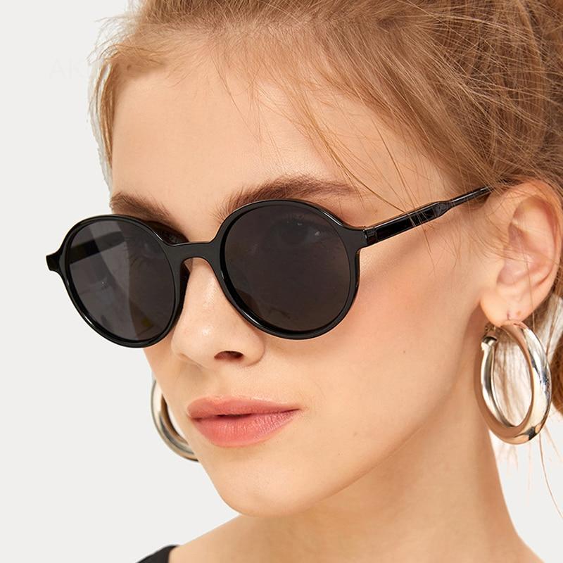 Round Sunglasses Women High Quality Mirror Vintage Black Sun Glasses Female Brand Designer Oculos De Sol Feminino