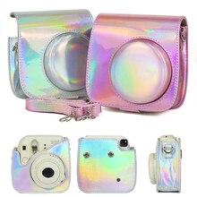 フジフイルムインスタックスミニポラロイドミニ 8 8 + 9 シンフォニーカメラバッグ明るいパウダー色保護カバーレトロ革カメラケース