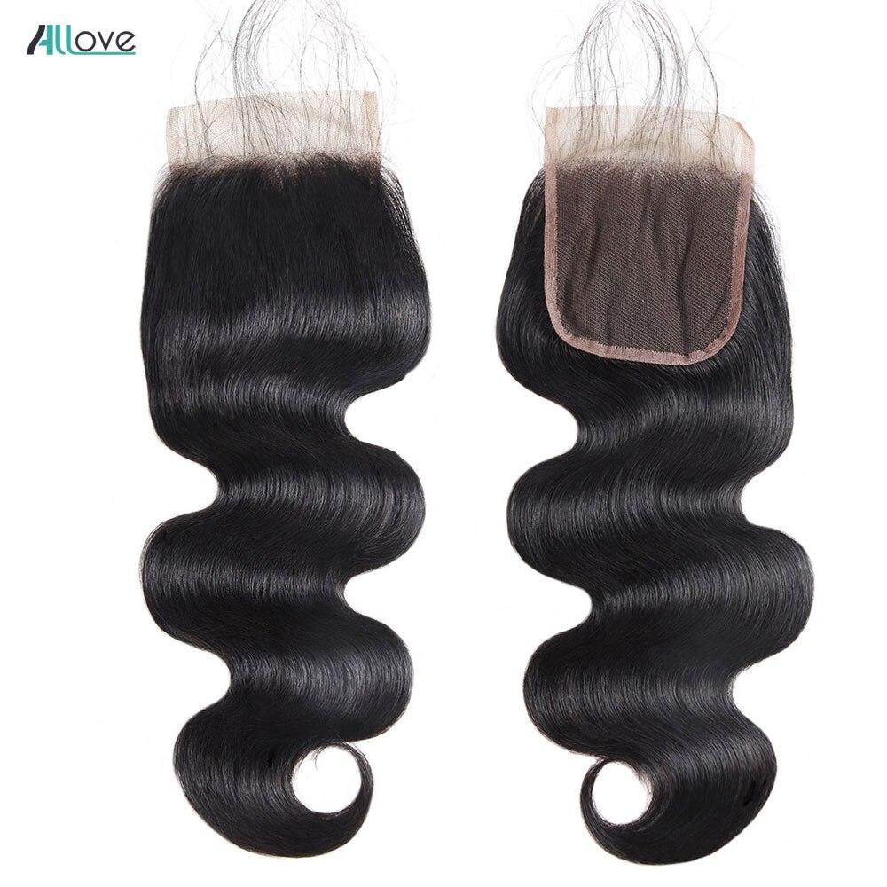 Allove 4x4 fechamento do laço onda do corpo brasileiro fechamento do cabelo humano com o cabelo do bebê cor natural não remy fechamento do laço brasileiro