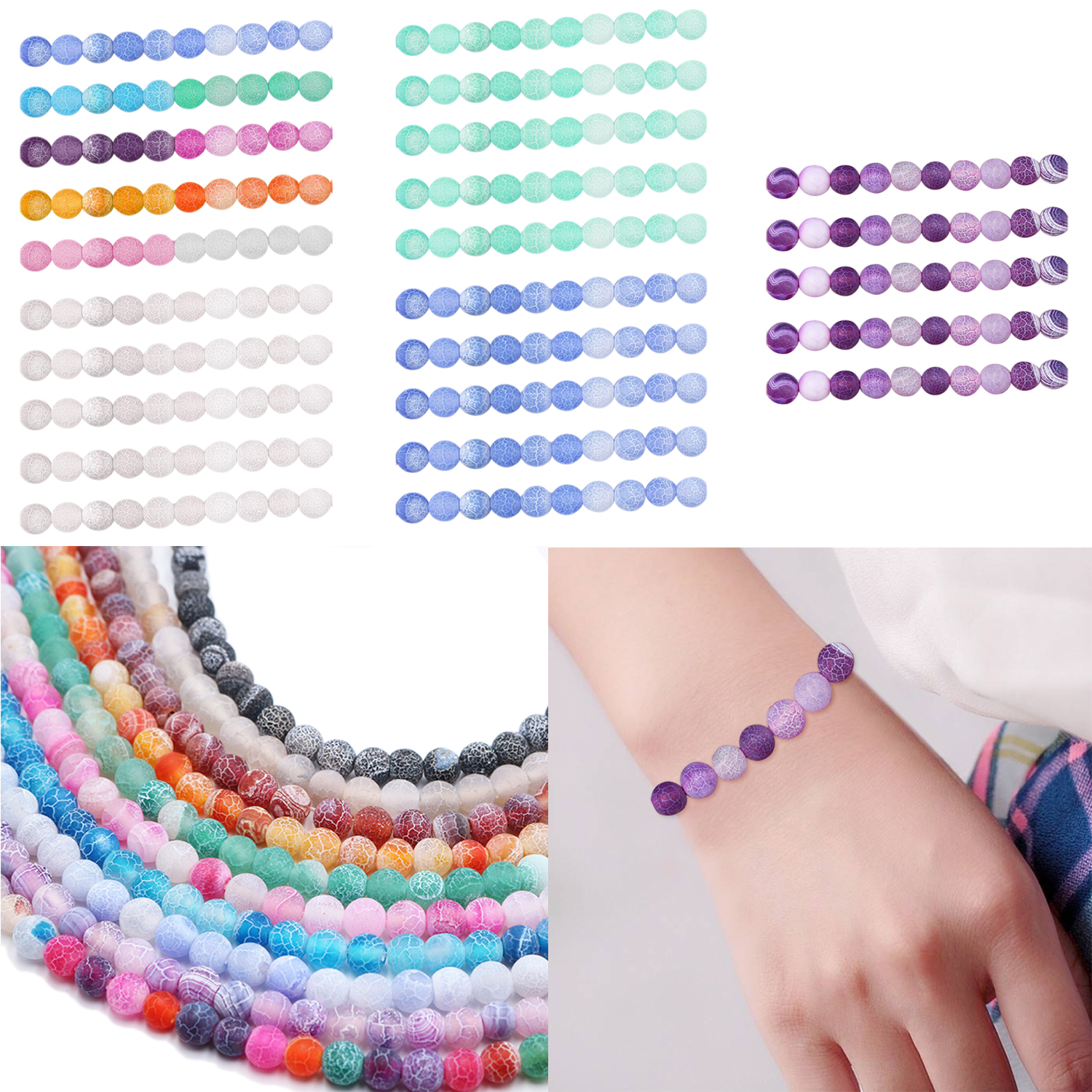96Pcs 8mm Fashion Ranbow Natural Round Frosted Crackle Agate Gemstone Stone Loose Beads Toys Gifts DIY Bracelet Necklace Making
